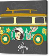 Bus With Surfboard Canvas Print