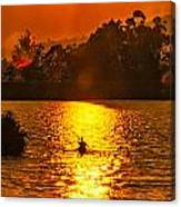 Bushfire Sunset Over The Lake Canvas Print