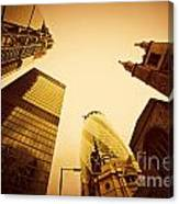 Business Architecture Skyscrapers In London Uk Golden Tint Canvas Print