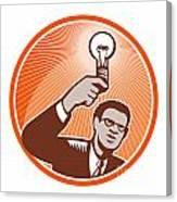 Businessman Holding Lightbulb Woodcut Canvas Print