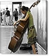 Busking Parisian Cellist Canvas Print