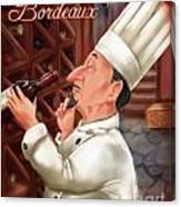 Busy Chef With Bordeaux Canvas Print