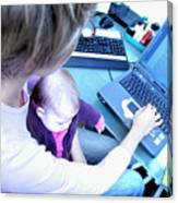 Busy Mother Working Canvas Print