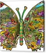 Butterfly Meadow Green Canvas Print