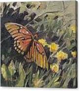 Butterfly Meadow With Yellow Flowers Canvas Print