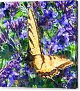 Butterfly With Purple Flowers 3 Canvas Print