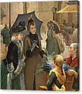 Buying Flowers, 19th Century Canvas Print