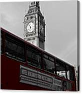 Bw Big Ben And Red London Bus Canvas Print