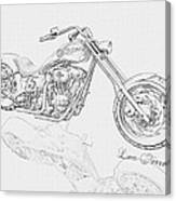 Bw Gator Motorcycle Canvas Print