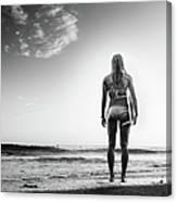 B&w Surfer Canvas Print