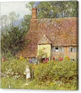 By The Cottage Gate Wc On Paper Canvas Print
