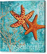 By The Sea Shore Original Coastal Painting Colorful Starfish Art By Megan Duncanson Canvas Print