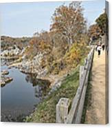 C And O Canal Above And Potomac River Below Canvas Print