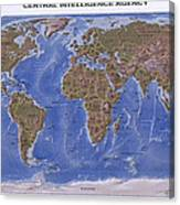 C I A Physical Map Of The World Metal Print