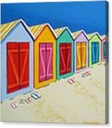 Cabana Row - Colorful Beach Cabanas Canvas Print