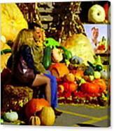 Cabbage Patch Kids - Giant Pumpkins - Marche Atwater Montreal Market Scene Art Carole Spandau Canvas Print
