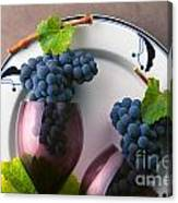 Cabernet Grapes And Wine Glasses Canvas Print