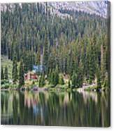 Cabin By The Lake In The Forest Canvas Print