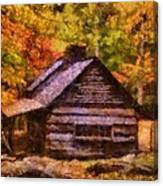 Cabin In Autumn Canvas Print