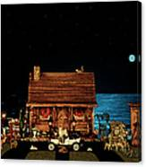 Log Cabin Near The Ocean At Midnight Canvas Print