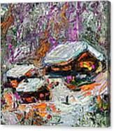Cabins In The Snow Modern Expressionism Canvas Print
