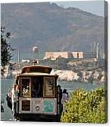 Cable Car Going Down A Steep San Francisco Hill Canvas Print
