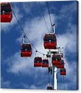 Red Line Cable Car Gondolas Bolivia Canvas Print
