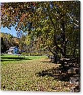 Cades Cove House And Fall Colors Canvas Print