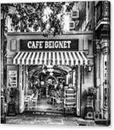 Cafe Beignet Morning Nola - Bw Canvas Print