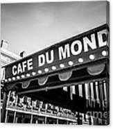 Cafe Du Monde Black And White Picture Canvas Print