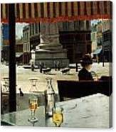 Cafe In A City Square Canvas Print