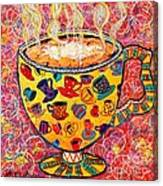 Cafe Latte - Coffee Cup With Colorful Coffee Cups Some Pink And Bubbles  Canvas Print