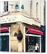 Cafe Le Barometre In Paris Canvas Print