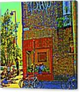 Cafe Window Corner Rue Fabre Near The Bicycle Stand Art Of Montreal Summer Street Scene  Canvas Print