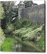 Cahir Castle Wall And River Suir Canvas Print