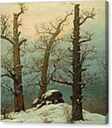 Cairn In Snow Canvas Print