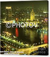 Cairo And The Nile River At Night - Egypt Canvas Print