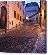 Calcada Da Gloria Street At Dusk In Lisbon Canvas Print