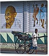 Calcutta - Rickshaw Passing Mahatma Gandhi Rd Metro-station Canvas Print