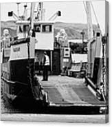 Caledonian Macbrayne Mv Canna Ferry With Vehicle Boarding Ramp Lowered Rathlin Island Pier Harbour N Canvas Print