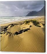 Caleta De Famara Beach On Lanzarote Canvas Print