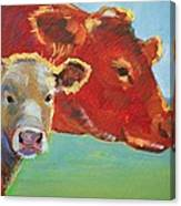 Calf And Cow Painting Canvas Print