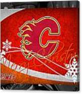Calgary Flames Christmas Canvas Print