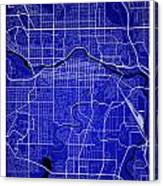 Calgary Street Map - Calgary Canada Road Map Art On Colored Back Canvas Print