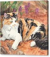 Calico Cat In Garden Watercolor Painting Canvas Print