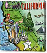 California Cartoon Map Canvas Print
