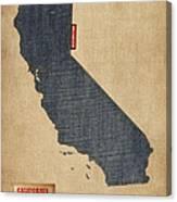 California Map Denim Jeans Style Canvas Print