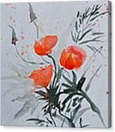 California Poppies Sumi-e Canvas Print