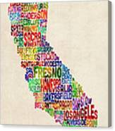 California Typography Text Map Canvas Print