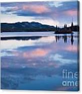 Calm Twin Lakes At Sunset Yukon Territory Canada Canvas Print